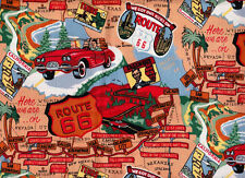 1 YARD ROUTE 66 NOVELTY PRINT COTTON FABRIC BY ROBERT KAUFMAN-CRAFT-QUILT-I SPY