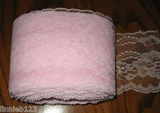 Lace trim Raschel #444 flat 4 inch PINK polyester scalloped edge trim 24 3/4 yd