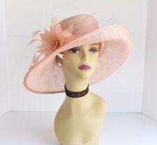 L17 Kentucky Derby Church Wedding Carriage Feather Flower Sinamay Medi hat Peach
