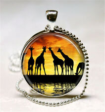 Vintage Giraffe Cabochon Silver plated Glass Ball Chain Pendant Necklace; t7