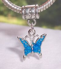 Blue Butterfly Charmadillo Jewelry Dangle Bead fits European Charm Bracelets