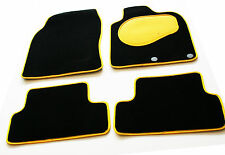 VW Touareg 4x4 2nd gen 10  Black Carpet Car Mats - Yellow Trim & Heel Pad