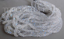 """7"""" strand AAA RAINBOW MOONSTONE faceted gem stone rondelle beads 3.5mm - 4.5mm"""
