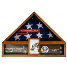 AMERICAN FLAG DISPLAY CASE OAK VETERAN MILITARY DISPLAY BOX FUNERAL BURIAL MEDAL