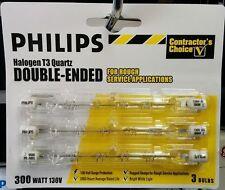 Philips 300 Watt T3 Halogen 130V (136077) J Type Bulb. 3 Pack