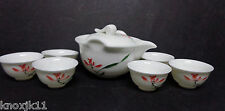 Vtg White Porcelain SAKE TEA POT STRAINER In One &  6 CUPS Orange Flowers NWOT!