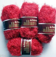 4 Skeins Patons ALLURE Eyelash Fur Yarn Garnet Red Discontinued