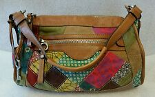Women's FOSSIL multicolor patch shoulder bag hobo purse BROWN LEATHER TRIM
