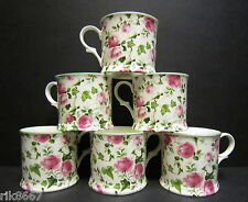 Set Of 6 Ivy Rose Clear Chintz English Fine Bone China Mugs Cups By Milton China
