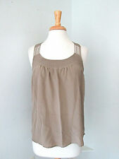 New NWT Kelly Wearstler 100% silk taupe deco stitched tank top racerback Sz 8