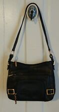Stone Mountain YORK Black Soft Leather Shoulder Bag Organizer Purse