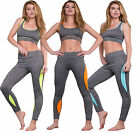 Women Gym Active Wear Grey Gym Two Tone Leggings JOGGER LOUNGEWEAR Size 8-14