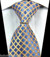 New Classic Checks Gold Blue JACQUARD WOVEN 100% Silk Men's Tie Necktie