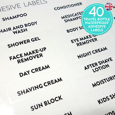 Travel bottle labels set stickers waterproof travel organiser