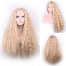 Harajuku Style Glamour Blonde Ombre Wig Long Fluffy Corn Wavy Hair Part Bang Wig