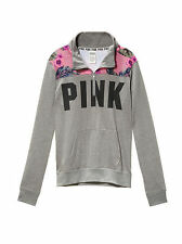 New VICTORIA'S SECRET PINK PERFECT QUARTER ZIP HOODIE Clay Grey Size Large
