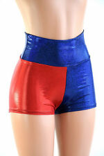SMALL Red & Blue Harlequin Cosplay High Waist Shorts Ready To Ship!