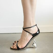 Giuseppe Zanotti Black Patent Leather Metal Sculpted Heel Strappy Wedges 40