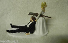 Wedding Reception Party Deer Hunting Gun Rifle Hunter Groom w/ Beard Cake Topper