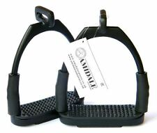 OFFSET EYE FLEXI SAFETY STIRRUPS OPTIMUM LEG POSITION HORSE RIDING BLACK AMIDALE