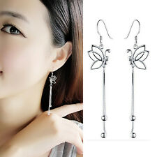 Women Chic Silver Butterfly Charm Tassels Chain Dangle Ear Wire Earrings Jeweley