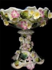 Victorian Coalbrookdale Style Bowl on Stand Encrusted with Flower