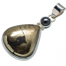 "Pyrite In Magnetite, Hematite 925 Sterling Silver Pendant 2"" Jewelry P585656F"