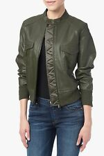 NWT 7 FOR ALL MANKIND WOMEN SzL BONDED LEATHER BOMBER JACKET DUSTY OLIVE $695.