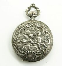 Antique 19c Frolicking Cherub Cupid 875 Silver Ornate Swiss Ladies Pendant Watch