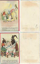 LOT 2 Chromo trade cards animal Chèvre Bouc Rouge Gorge Bleu HUMOUR [770 A]