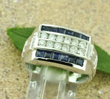 2.00 ct 14k Solid White Gold Men's Natural Diamond  Blue Sapphire Ring  4 rows