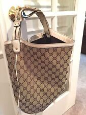 Auth Gucci Wave Womens Signature GG Canvas & Leather Hobo Shoulder Handbag Purse