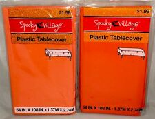 "2 HALLOWEEN plastic table covers - orange - 54"" X 108"" rectangle - NWT"