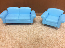 Barbie Doll Decor Collection House Couch Blue Sofa Chair Living Room Furniture