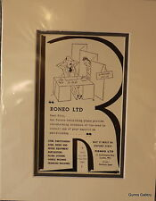 Vintage Advert mounted ready to frame Roneo Steel Office Furniture 1950's