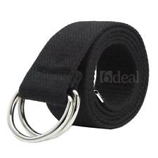 Mens Womens Canvas Belt with Double D Ring Metal Buckle Fashion New Black
