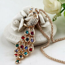 Gorgeous Full Rhinestone Crystal Peacock with Gold Chain Pendant Long Necklace