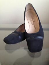 bagsclothesetc: USED Authentic FERRAGAMO Black Pumps Shoes 7 1/2, B FREE SHIP