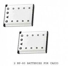 2 Batteries NP-80 NP-80DBA NP-82 NP-82DBA for Casio EX-G1 EX-H5 EX-55 EX-S6 EXS7