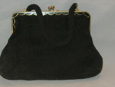 Vintage Medium Black Evening Bag w Small Glass Beads Hand Made for La Regale