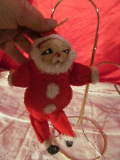 Vintage Santa Claus Christmas Ornament Chenille Pipe Cleaners Fleece Wired Body
