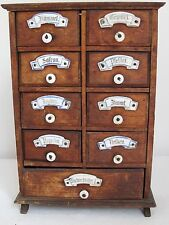Antique German Spice Cabinet 9 Drawers  Ceramic Labels