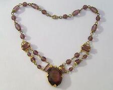 Czech Art Deco Faceted Purple Glass Necklace
