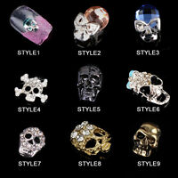 Metal Hallowmas Skull 3D Nail Art Rhinestones Skeleton Manicure Tips DIY 5Pcs