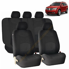 BLACK AIRBAG & SPLIT BENCH SEAT COVERS 9PC SET for DODGE RAM JOURNEY