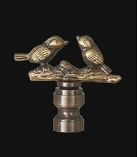 "LOVE BIRDS LAMP FINIAL ~ Antique Brass Finish { 2"" Tall } ~ by PLD"