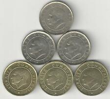 6 DIFFERENT 5 KURUS COINS from TURKEY (2006, 2007, 2008, 2009, 2010 & 2011)