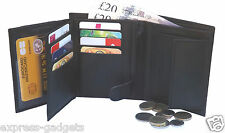 MENS LUXURY SOFT BLACK REAL LEATHER WALLET, CREDIT CARD HOLDER, CHANGE PURSE