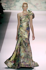 NWT Monique Lhuillier Spring 2011 Floral One Shoulder Gown $6,200 Size 6