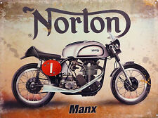 MANX NORTON ISLE OF MAN TT IOM RACER CLASSIC VINTAGE BIKE METAL WALL GARAGE SIGN